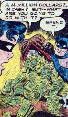 Santos billetotes Verdes Batman!, Imagina cuanta de la verde puedes comprar con eso.